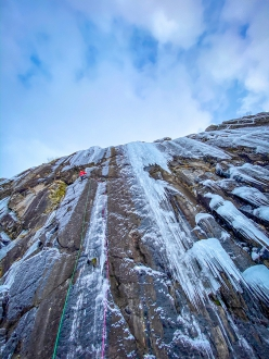 Ice climbing in Norway: Greg Boswell making the first ascent of Taking it Home