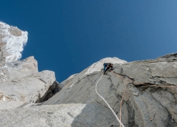 Nico Favresse and Sean Villanueva making the first ascent of El Flechazo on Cerro Standhardt in Patagonia. The 850m route breaches difficulties up to 7b, M3, WI5+ and was climbed with two bivouacs in February 2020