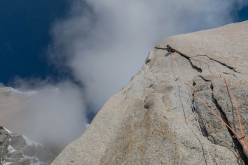 Nico Favresse and Sean Villanueva making the first ascent of El Flechazo on Cerro Standhardt in Patagonia