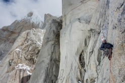 Nico Favresse making the first ascent of El Flechazo on Cerro Standhardt in Patagonia with Sean Villanueva