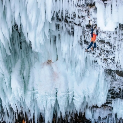 Tim Emmett making the first ascent of Mission To Mars at Helmcken Falls in Canada. This is the first climb ever to be graded WI 13 and as such checks in as the hardest ice climb in the world.