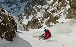 Davide Capozzi in 2016 making the first descent of the Col Du Brouillard SW Couloir, also referred to as Voie du 1894
