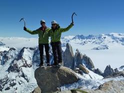 Adam Holzknecht and Hubert Moroder on the summit of Fitz Roy, November 2010