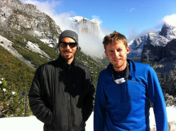 Kevin Jorgeson & Tommy Caldwell safely on the ground after the first 2010 winter storm in Yosemite, USA