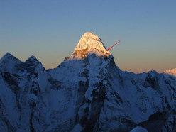 Ama Dablam (Himalaya, Nepal) and the scene of the accident where the two rescuers Sabin Basnyat and Purna Awale lost their lives.