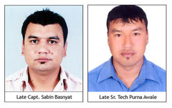 The pilor Sabin Basnyat and rescue operator Purna Awale