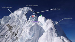 The accident zone on Ama Dablam