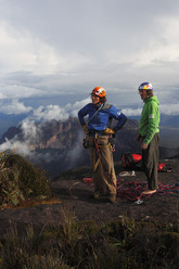 Stefan Glowacz and Holger Heuber on the summit o fRoraima Tepuis, Venezuela