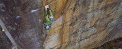 Matt Wilder during the first ascent of The Golden Bullet 5.13d, New River Gorge, USA