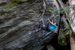 Paul Robinson sending Hide and Sick V14 (8B+) in Maltatal, Austria