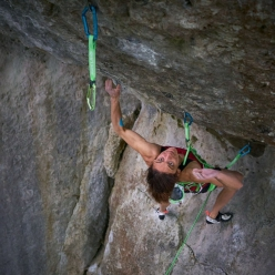 Melissa Le Nevé making the first female ascent of Action Directe in Frankenjura, Germany. First ascended by Wolfgang Güllich on 14 September 1991, it is one of the most revered sport climbs in the world.