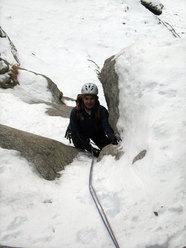 Marco Appino arriva a S1 della Cascata delle miniere (Valle dell'Orco)