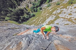 Fine di un'Epoca at Cima Cee in the Brenta Dolomites: Rolando Larcher climbing pitch 4
