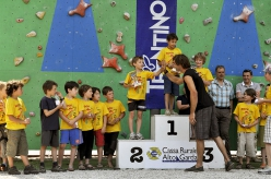 Tito Traversa high fiving with Chris Sharma at Rock Junior 2010