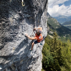 Stefano Carnati making the first ascent of Moon Landing 9a at Passo della Presolana