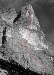La Via direttissima sulla parete sud della Torre Trieste (7b, 730m)