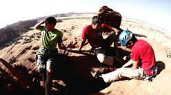 Alex Honnold, Mark Synnott and James Pearson on the summit of Ba-Chileke, Chad
