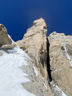 Leo Gheza making his solo ascent of the Central Pillar of Frêney in the Mont Blanc massif on 06/08/2020