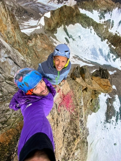 Hervé Barmasse and Stefano Perrone on the top of their new route From Hell to Paradise, Vallone del Piantonetto