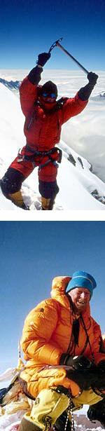 Jean Christophe Lafaille in vetta allAnnapurna nel 2001 e Mario Curnis (65 aqnni) in vetta all'Everest nel 2002
