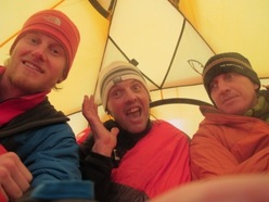 Cory Richards, Simone Moro and Denis Urubko at Base Camp of Gasherbrum II in winter