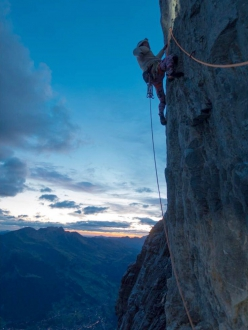 Sébastien Berthe climbing Odyssee on the Eiger with Nicolas Favresse