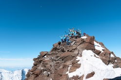 The team that placed the new cross on Punta Dufour, Monte Rosa massif on Transporting the new cross on Punta Dufour, Monte Rosa massif, on Wednesday 9 September 2020