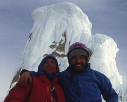 Francek Knez & Silvo Karo on the summit of Torre Egger, Patagonia