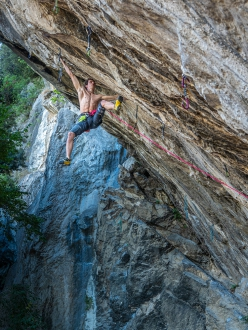 Adam Ondra making the first repeat of Beginning, freed in May 2020 by Stefano Ghisolfi at Eremo di San Paolo close to Arco, Italy