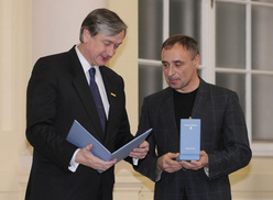 Silvo Karo receiving the Order of Merit from Slovenian President Dr. Danilo Tuerk
