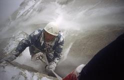 Franček Knez in una tempesta Patagonica, Fitz Roy 1983