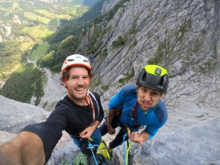 Hannes Hohenwarter and Martin Sieberer climbing Pumprisse in the Wilder Kaiser, first ascended by Helmut Kiene and Reinhard Karl