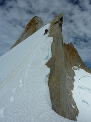 Gaining the upper ridge after the snowfield on Cerro Pollone, Patagonia