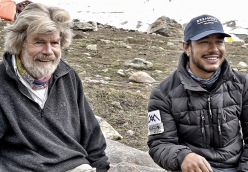 Reinhold Messner and Nirmal Purja at Nanga Parbat base camp, summer 2019