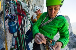 Ines Papert and Luka Lindič making the first ascent of Wolke 7, Hinteres Feuerhorn, Germany