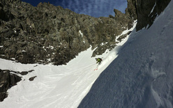 Aiguilles du Brouillard Couloir south-west first ski descent