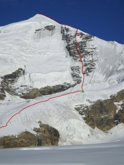 The West Face of Tetnuldi, Caucasus, Georgia and the line climbed by Temur Kurdiani on 16/10/2020