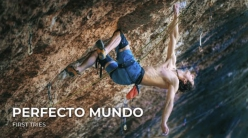 Adam Ondra attempting Perfecto Mundo 9b+ at Margalef in Spain