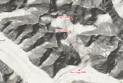 The map of Gasherbrum II and the route so far