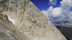 The oldest mountain refuge in the Dolomites, located on the East Face of Punta Penia in Marmolada