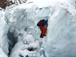 Climbing past a serac