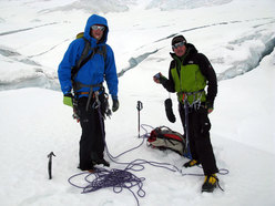Cory Richards and Denis Urubko at the end of the Icefall