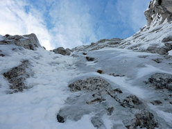 Ivo Ferrari during the first winter solo ascent of Pizzo della Pieve - Fasana