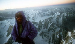 British mountaineer Doug Scott on the summit of Ogre in 1977