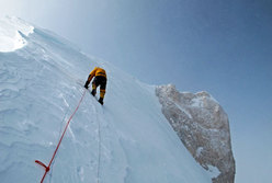 Simone Moro 100m below the summit of Gasherbrum II, and just a step away from the first winter ascent.