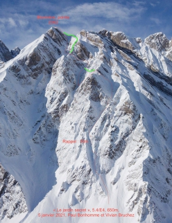 The line Le jardin secret on the NE Face of Pointe de Blonnière, skied by Paul Bonhomme and Vivian Bruchez on 05/01/2021. In red the descent, in green where the ascent differs
