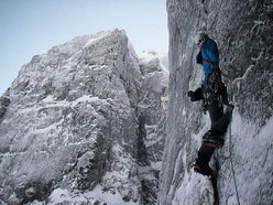 Tim Neill making the second ascent of Storm Trooper (VIII,8) on Creag Coire na Ciste, Ben Nevis.