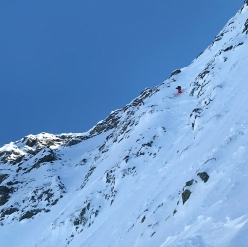 Paul Bonhomme and Xavier Cailhol making the first ski descent of the North Face of Chaperon in the French Alps on 19/01/2021