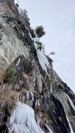 Mark Oberlechner making the first ascent of Dogma at Rein in Taufers (Italy) with Simon Gietl