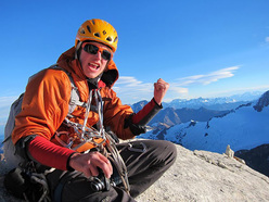Neil Kauffman on the summit of Aguja Desmochada, Patagonia